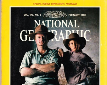 Vintage National Geographic Magazine, Vol 173 No 2, February 1988