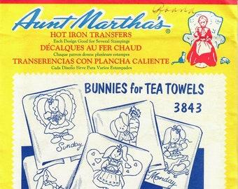 Aunt Martha's Hot Iron Transfers, Bunnies for Tea Towels #3843
