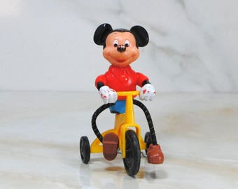 Vintage Mickey Mouse On A Tricycle, Disney, Gabriel Industries, Disney Productions, Collectible, 1977, Walt Disney, Mickey On Bike