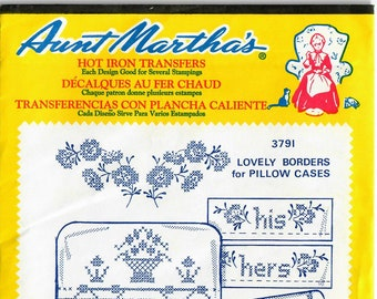 Vintage Aunt Martha's Hot Iron Transfer Lovely Borders for Pillow Cases 3791