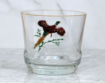 Vintage Ring Necked Pheasant Glass Ice Bucket