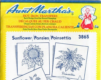 Vintage Aunt Martha's Hot Iron Sunflower, Posies, Poinsettia 3865