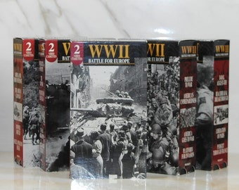 Vintage World War II The Battle For Europe Collection, VHS Tapes, 1995, Assault On Italy, The Air War, Prelude To War, D Day, Rommel Routed