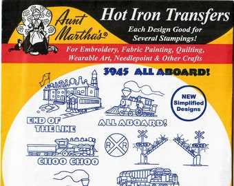 Aunt Martha's Hot Iron Transfers, All Aboard! #3945