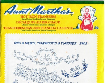 Vintage Aunt Martha's Hot Iron Transfer His & Hers Dogwoods and Daisies 3902