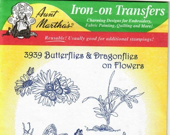 Aunt Martha's Hot Iron Transfers, Butterflies & Dragonflies on Flowers #3939