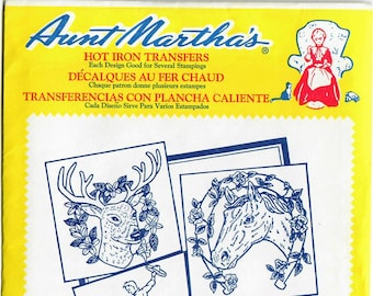 Vintage Aunt Martha's Hot Iron Transfers, Horses and Deer 3287