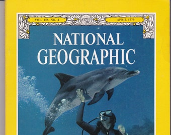 Vintage National Geographic Magazine, Vol 155, No 4, April 1979, Leakey Discovery, Footprint, Nuclear Energy, Indians, Killer Whale, Prague