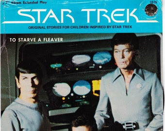 Vintage Star Trek Record, To Starve A Fleaver, Original Series Record 1979 Peter Pan Records 45RPM #1515