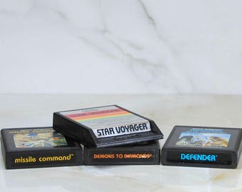Vintage Atari Games, Combo Pack, Defender, Missle Command, Demons To Diamonds, Star Voyager, 4 Games, 1980s, Vintage Games, Vintage Atari