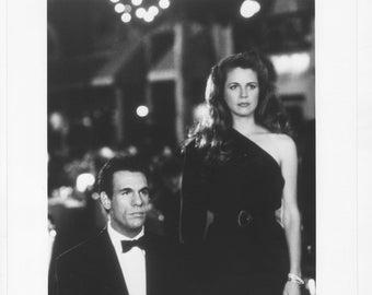 Vintage Photograph Robert Davi Harley and Jane Kozak in The Taking Of Beverly Hills 1991, 8x10 Black & White Promotional Photo