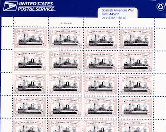 Vintage Postage Stamps Spanish American War - Remember The Main Stamp Sheet 20 32 cent stamps, Scott 3192, 1997
