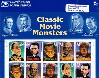Vintage Postage Stamps Classic Movie Monsters Stamp Sheet 20 32 cent stamps, Scott 3168-3172, 1997
