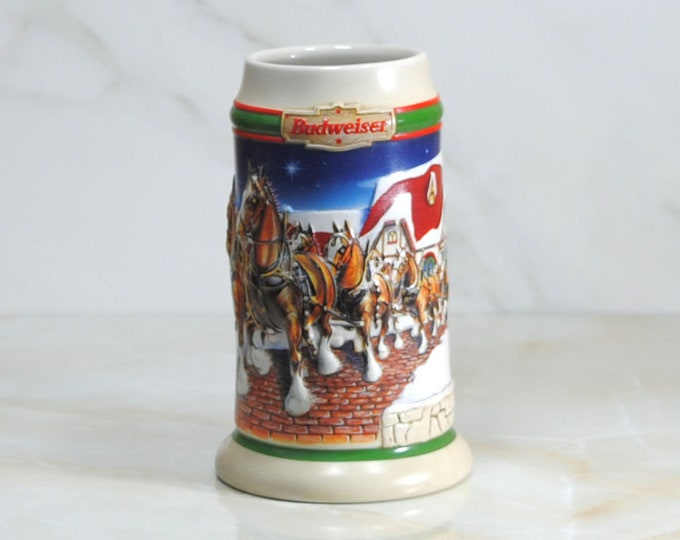 Featured listing image: Vintage Beer Stein, Budweiser 1998 Grant's Farm Holiday