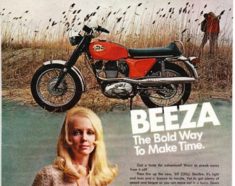 Vintage BSA Motorcycle Original Magazine Advertisement 1969, Beeza, Wall Art, Wall Decor, Man Room, Starfire, Vintage Motorcycle, Bike
