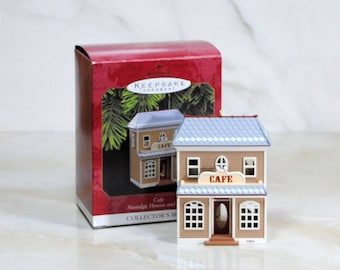 Vintage Hallmark Keepsake Ornament, Nostalgic Houses and Shops, 1997, Cafe, Collector Series, #14 in Series, Christmas Ornament, Diorama