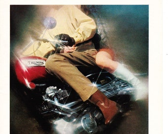 Vintage Triumph Motorcycle Original Magazine Print Art 1969
