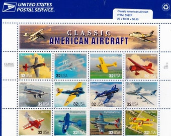 Vintage Postage Stamps Classic American Aircraft Stamp Sheet 20 32 cent stamps, Scott 3142, 1996