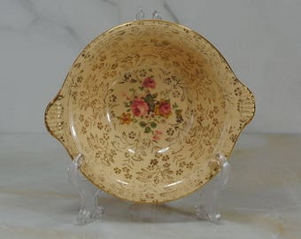 Vintage 22k Gold Trim China Berry Bowls by Edwin Knowles, Semi Vitreous Atlas China
