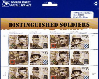 Vintage Postage Stamps Distinguished Soldiers Stamp Sheet 20 33 cent stamps, Scott 3396