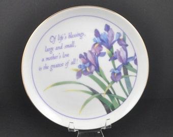 Vintage Mother's Plate, 1986, American Greetings Purple Iris Plate
