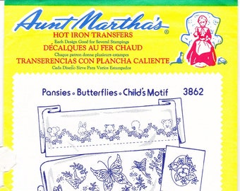 Vintage Aunt Martha's Hot Iron Transfers, Embroidery, Pattern, Needlepoint, Aunt Martha, Hot Iron, Transfer, 3862, Pansies Butterflies