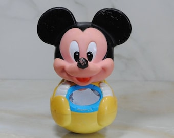 Vintage Disney Mickey Mouse Roley Poley Weeble Wobble Chime Toy, 1984, Mickey Baby Toy, Infant Toy, Walt Disney Toy, Disney Baby Toy, Baby