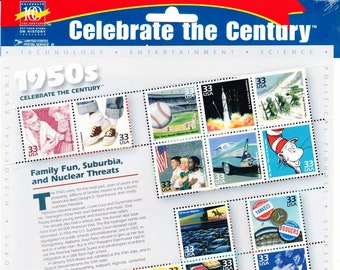 Vintage Postage Stamps Celebrate the Century 1950s Stamp Sheet 15 33 cent stamps, Scott 3187, 1999