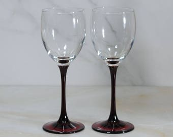 Vintage Red-Stemmed Crystal Wine Glasses by Luminarc, Set of 2