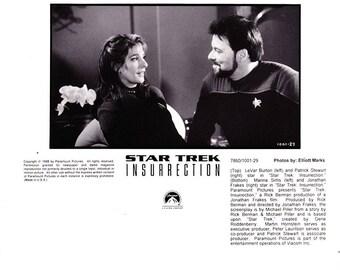 Vintage Star Trek Photograph, LeVar Burton, Patrick Stewart, Marina Sirtis, Jonathan Frakes, Black and White, Insurrection, 1998