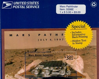 Vintage Postage Stamps Mars Pathfinder Stamp Sheet 1 3 dollar stamp, Scott 3178, 1997