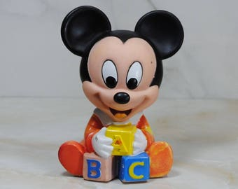 Vintage Disney Baby Mickey Mouse Baby Squeeze Toy, Squeaky Toy, ABC Blocks 1984/1986, Mickey Mouse Toy, Walt Disney Toy, Disney Toddler Toy