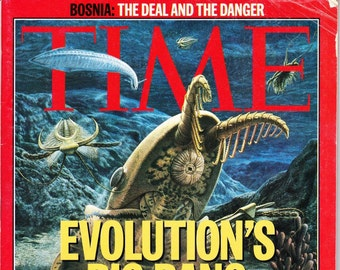 Vintage Time Magazine, December 1995, Evolutions Big Bang, New Discoveries, Bosnia, Chechnya Rebels, Israel, Charity, Whitney Houston