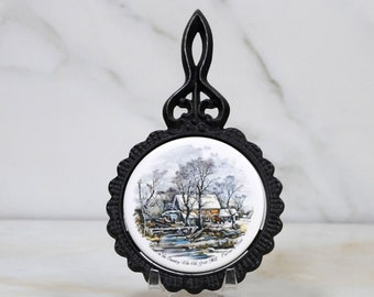 Vintage Ceramic Trivet, Currier & Ives, Winter Scene, Winter In The Country,The Old Grist Mill, Made In England, H R Johnson, Pot Holder
