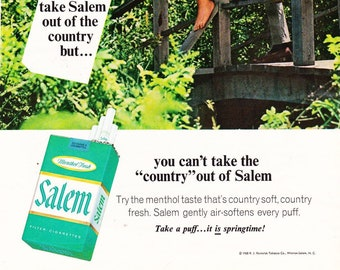 Vintage Salem Menthol Cigarettes, Filtered Tobacco, Original,  Magazine Advertisement 1969