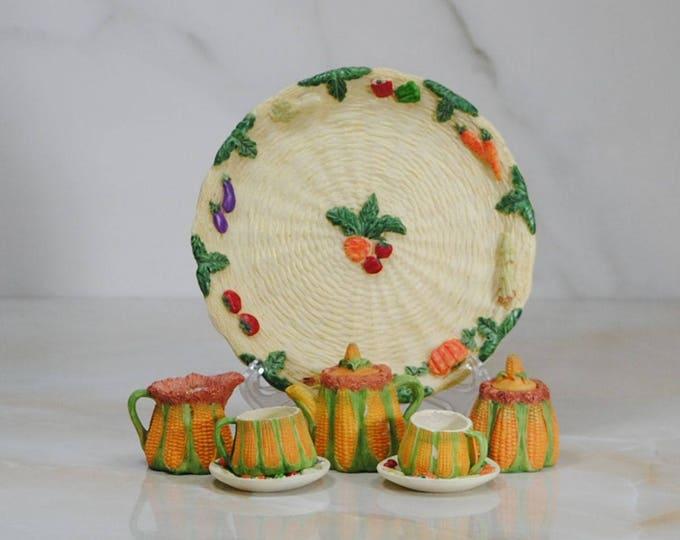 Featured listing image: Vintage Miniature Tea Set, Doll Tea Set, Toy Tea Set, Tiny Tea Set, Tea Set Figurine, Child's Tea Set, Mini Corn Tea Set, Mini Tea Set