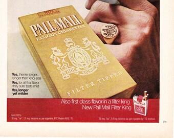 Vintage Pall Mall Cigarettes Original Magazine Advertisement 1972