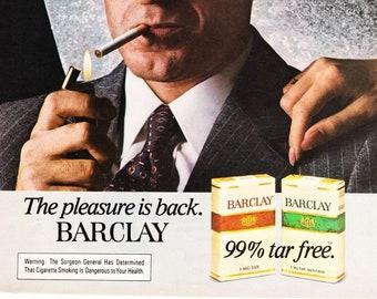 Vintage Barclay Cigarettes Original Magazine Advertisement 1980s