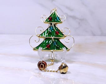Vintage Stained Glass Christmas Tree Ornament, Green Glass and Gold Wire, Hanging Jingle Bell and Glass Ball,1990's, Christmas Ornament
