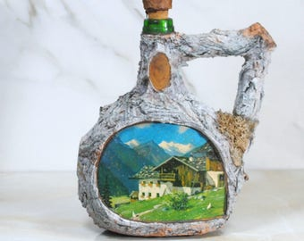 Vintage Tree Bark Covered Decanter, Liquor Decanter, 1970s, Germany, Swiss Alps, Mountains, OOAK, Vintage Decanter, Liquor Bottle