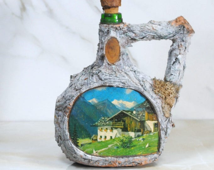 Vintage Tree Bark Covered Decanter, Liquor Decanter, 1970s, Germany, Swiss Alps, Mountains, OOAK, Vintage Decanter, Liquor Bottle