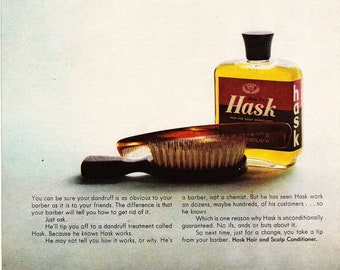 Vintage Original Magazine Print Art, Hask, 1964 Dandruff Treatment, Print Advertisement
