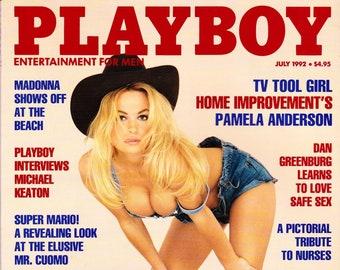 Vintage Playboy Magazine July 1992 with Pamela Anderson, Michael Keaton, Nicole Kidman and Amanda Hope