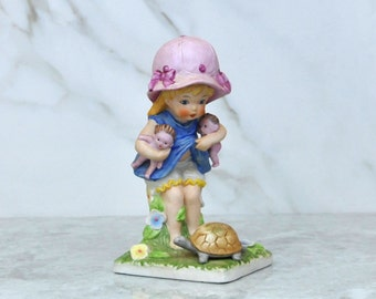 Vintage Seymour Mann Bisque Porcelain Loveables Figurine, Girl The Woods With Her Dollies, Turtle, Ceramic Figurine, Luv-17, Summer