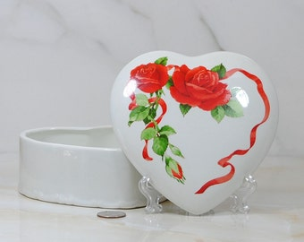 Vintage Heart-Shaped Candy Dish with Lid, Red Roses and Ribbons, Teleflora, 1984