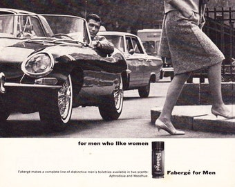 Vintage Original Magazine Print Art, Fabergé For Men, 1964, Mens Cologne, Print Advertisement