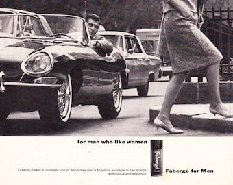 Vintage Original Magazine Print Art, Fabergé For Men, 1964, Mens Cologne, Print Advertisement