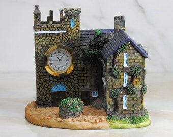 Vintage Lolina Quartz Clock House Scale Model Diorama, Hand Painted, Made In China