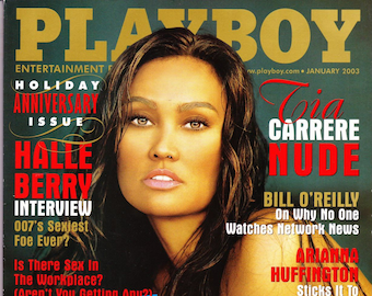 Playboy Magazine January 2003 with Tia Carrere, Rebecca Ramos, Ron Insana, Halle Berry, George W Bush, Olivia Girl