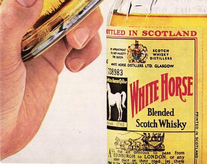 Vintage Original Magazine Print Art, White Horse Blended Scotch Whisky, 1964, Print Advertisement